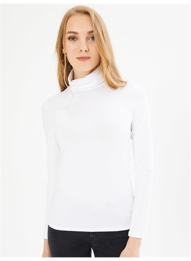 Xint XINT Dik Yaka Uzun Kollu %100 Pamuk Basic Tişört Beyaz
